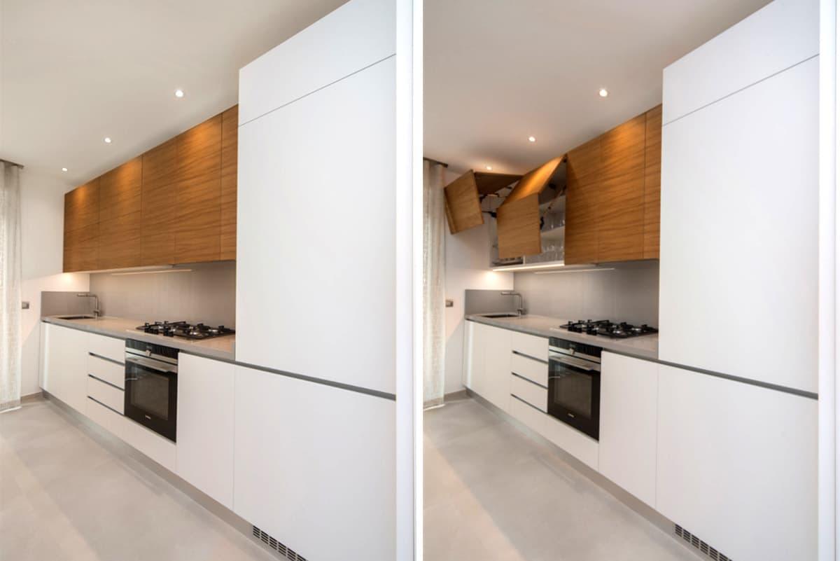 Cucina bianca e color legno